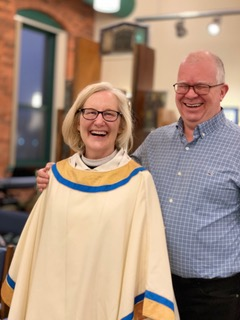 The Rev. Mary Barnett and husband David Jenkins